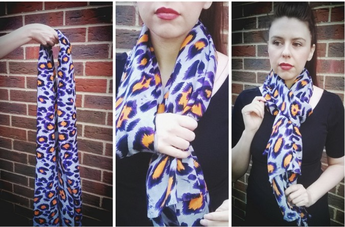 Lylia Rose Purple and Orange Leopard Print Scarf