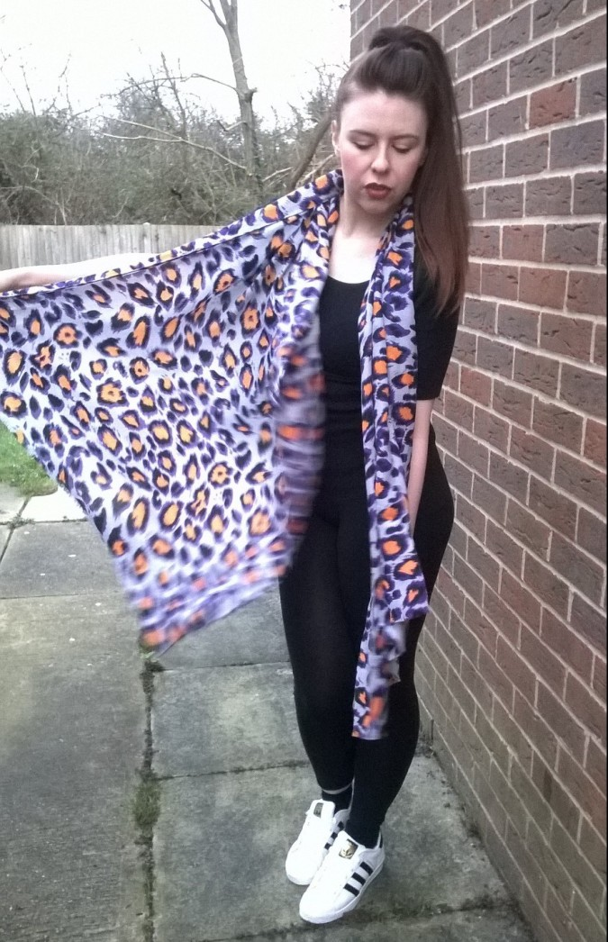 Lylia Rose Purple and Orange Leopard Print Scarf