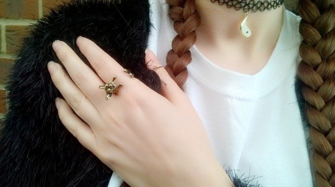 Barley and Bo French Bulldog Ring and Topshop Choker- How To Style The Lampshade Trend