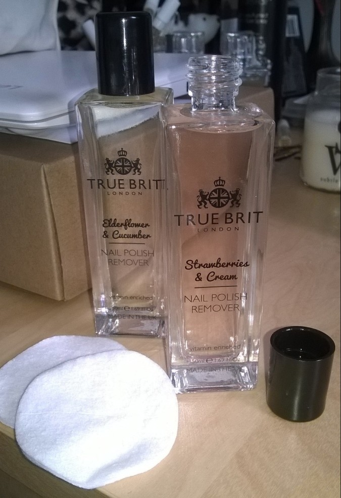 True Brit Scented Nail Polish Removers in Strawberries and Cream and Elderflower and Cucumber