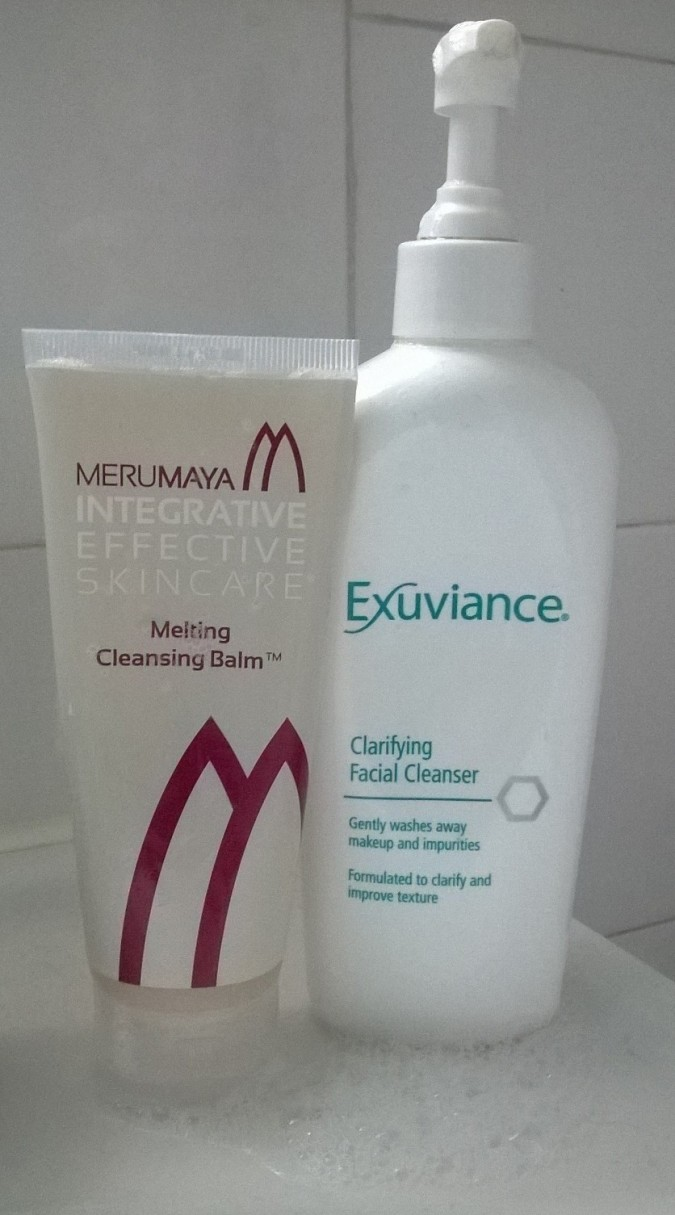 Merumaya Melting Cleansing Balm and Exuviance Clarifying Facial Cleanser