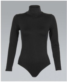KRISP Basics Long Sleeve Polo Neck Stretch Black Leotard