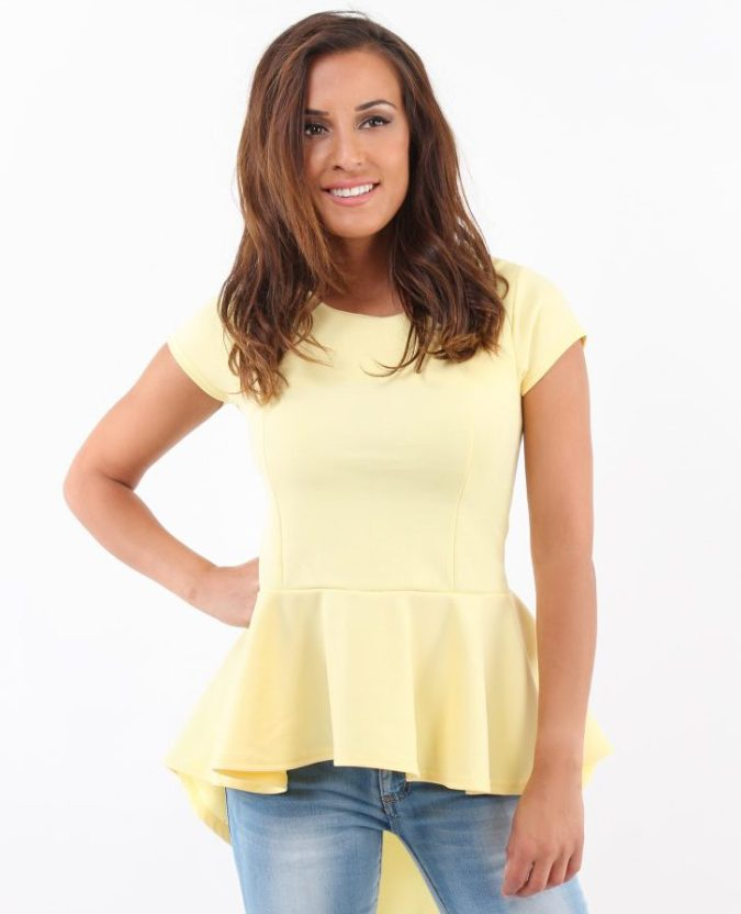 KRISP Basics Short Sleeve Fishtail Peplum Top in Lemon