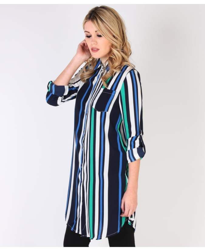 KRISP Multi Striped Longline Chiffon Shirt