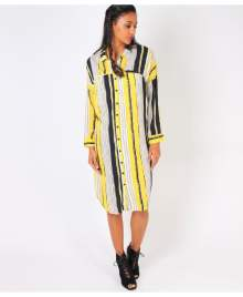 KRISP Striped Chiffon Shirt Dress