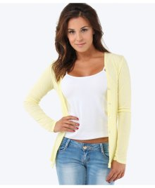 KRISP Thin Jersey Basic Cardigan in Lemon