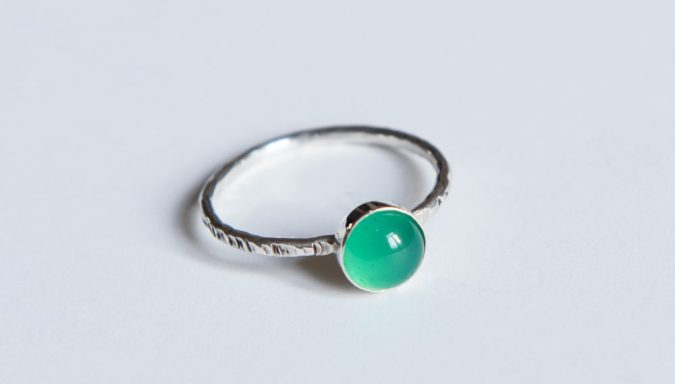 LMJewellery Sterling Silver Green Agate Semi Precious Dot Ring - On Our Radar Interview by Fashion Du Jour LDN