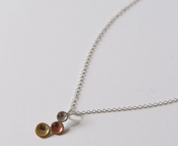 LMJewellery Sterling Silver Copper and Brass Circles Pendant Necklace- On Our Radar Interview by Fashion Du Jour LDN