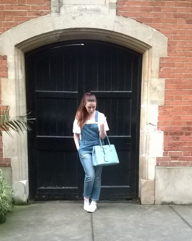 Giving Summer the Cold Shoulder: OOTB Matalan Dungarees Primark top Prada Bag Converse trainers by Fashion Du Jour LDN
