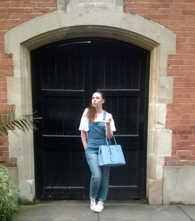 Giving Summer the Cold Shoulder: OOTD Matalan Dungarees, Primark Top, Converse Trainers, Prada Bag by Fashion Du Jour LDN