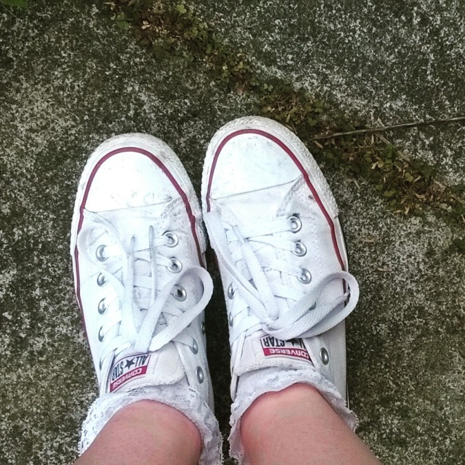 Pinafore Perfection: OOTD Converse Trainers from Office Shoes by Fashion Du Jour LDN