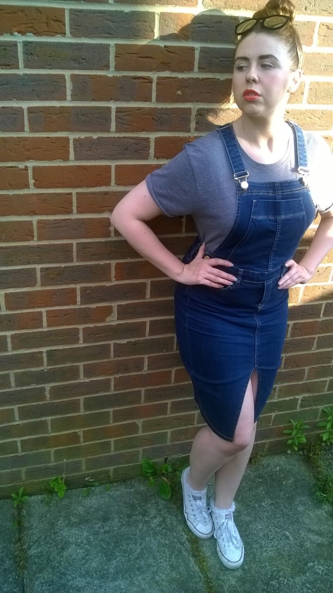 Pinafore Perfection: OOTD River Island Denim Pinafore Dress by Fashion Du Jour LDN