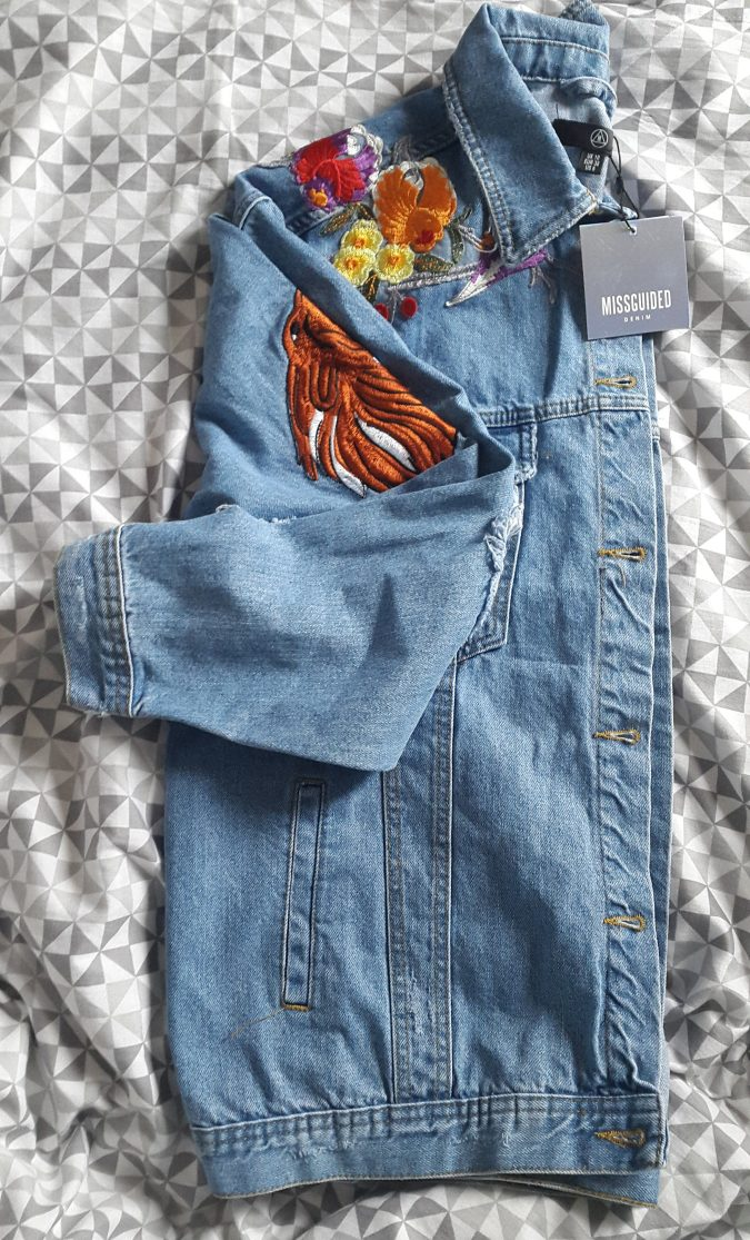 """How to """"Love The Sales"""" All Year Round! by Fashion Du Jour LDN. Missguided Embroidered Distressed Denim Jacket"""
