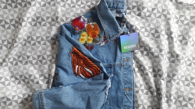 "How to ""Love The Sales"" All Year Round! by Fashion Du Jour LDN. Missguided Embroidered Distressed Denim Jacket"