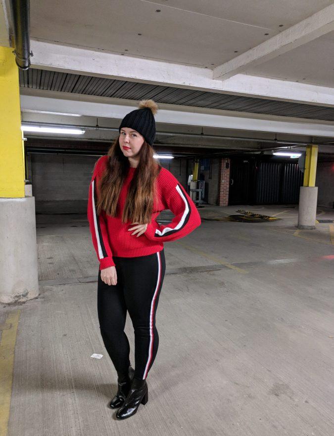 Earn Your Stripes Lasula Boutique OOTD by Fashion Du Jour LDN Red Stripe Woollen Jumper. Stripe Leggings. Black PVC Primark Ankle Boots. Faux Fur Pom Pom Bobble Hat.
