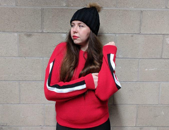 Earn Your Stripes Lasula Boutique OOTD by Fashion Du Jour LDN. Red stripe woolen Lasula Boutique Jumper. Red lipstick. Black faux fur pom pom bobble hat.