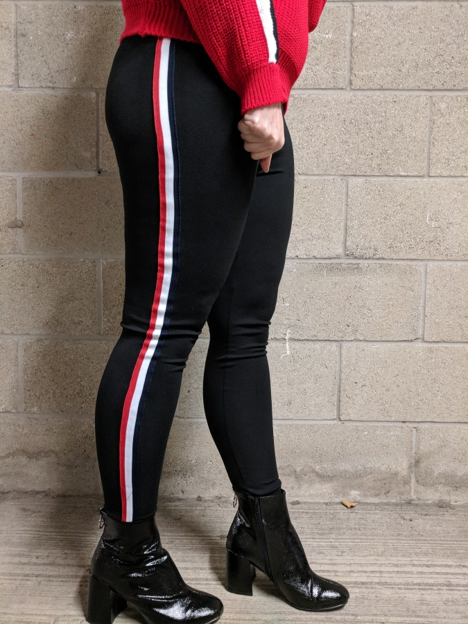 Earn Your Stripes Lasula Boutique OOTD by Fashion Du Jour LDN/ Black red and white stripe Lasula Boutique joggers leggings. Black PVC Primark Ankle Boots