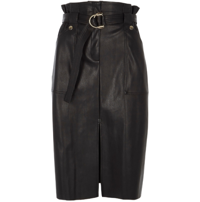 River Island black faux leather paperbag pencil skirt by Fashion Du Jour LDN