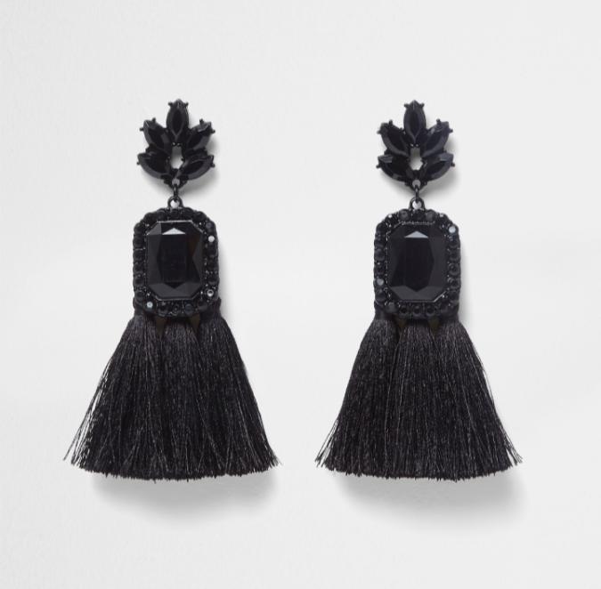 River Island Black rectangle jewel tassel earrings by Fashion Du Jour LDN