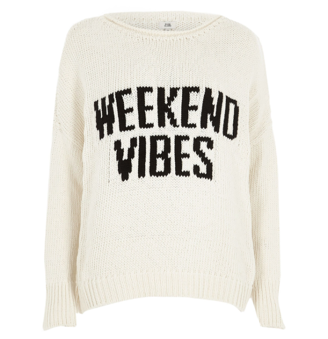 River Island cream-weekend-vibes-rolled-crew-neck-jumper by Fashion Du Jour LDN