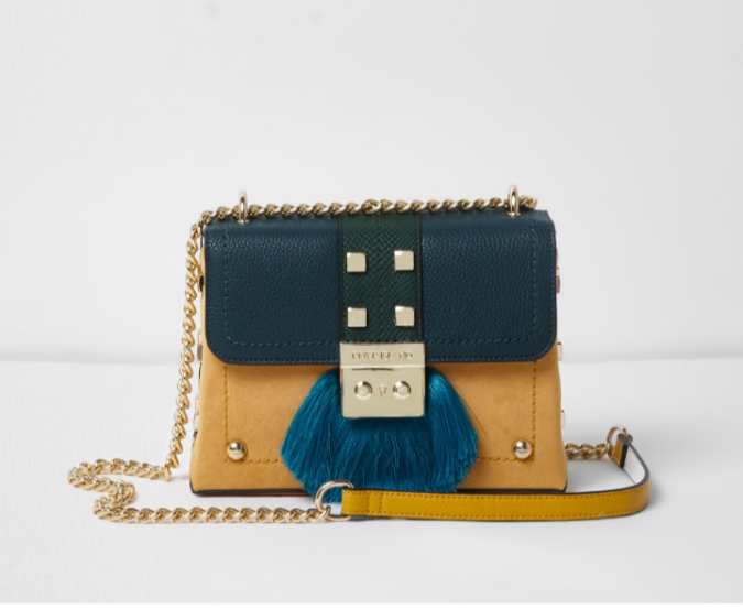 River Island green fringe lock small cross body chain bag by Fashion Du Jour LDN