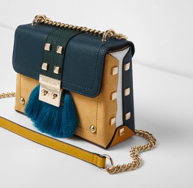 River Island green fringe lock small cross body chain bag by Fashion Du Jour LDN