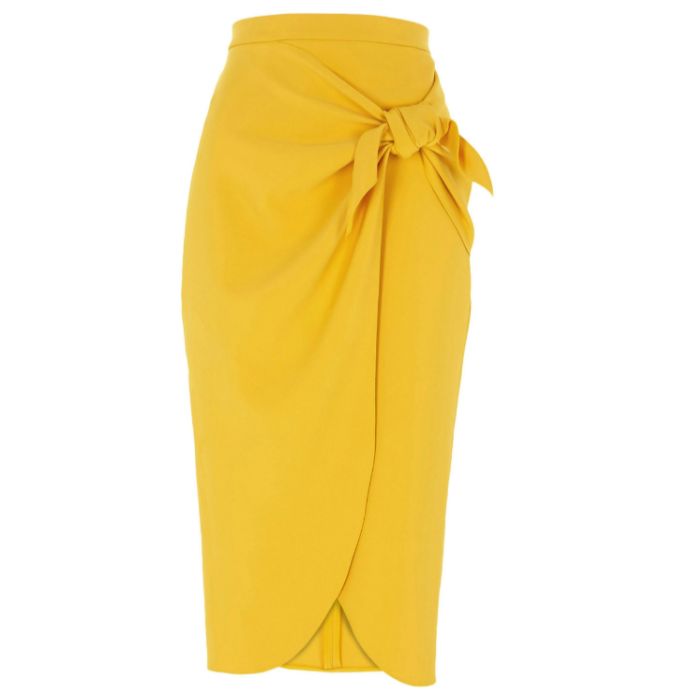 River Island mustard-yellow-tie-front-pencil-skirt by Fashion Du Jour LDN