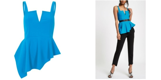 Colour Pop - Bold Bright Must-Haves by Fashion Du Jour LDN River Island Blue Asymmetric Peplum Hem Top 3