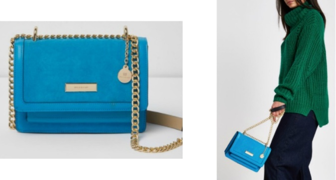 Colour Pop - Bold Bright Must-Haves by Fashion Du Jour LDN River Island Blue Cross Body Chain Bag 3