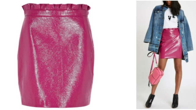 Colour Pop - Bold Bright Must-Haves by Fashion Du Jour LDN River Island Pink Vinyl Paperbag Mini Skirt 3