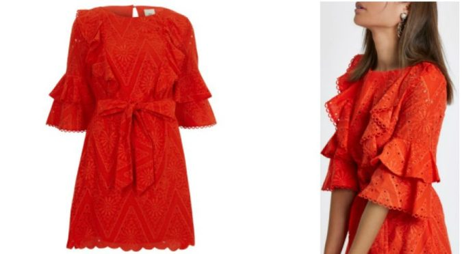 Colour Pop - Bold Bright Must-Haves by Fashion Du Jour LDN River Island Red Lace Frill Tie Waist Dress 3