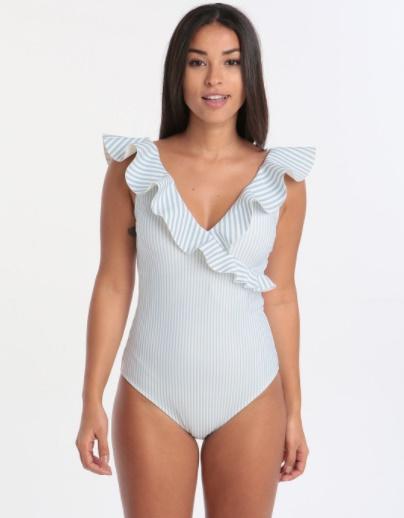 In The Swim: Our Hot Swimwear Picks by Fashion Du Jour LDN. Ted Baker Stripe Ruffle Wrap Swimsuit Pale Blue