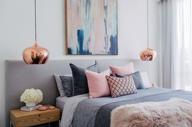 How to Photograph Your Interiors like a Pro by Fashion Du Jour LDN. Bedroom, dusky pink, faux fur throw, cushion, copper gold lamp