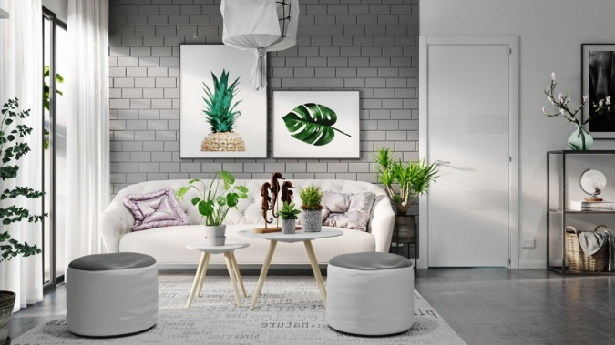 How to Photograph Your Interiors like a Pro by Fashion Du Jour LDN. Pineapple wall art, grey, coffee tables, cactuses