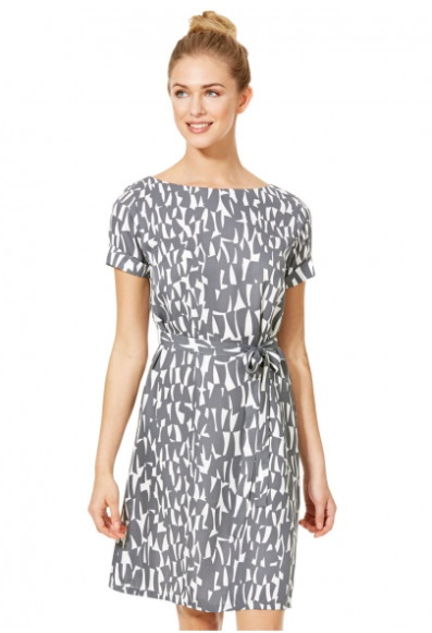 Working It!: Our Top Workwear Picks by Fashion Du Jour LDN. Simon Jersey Grey Shards Pattern Shift Dress