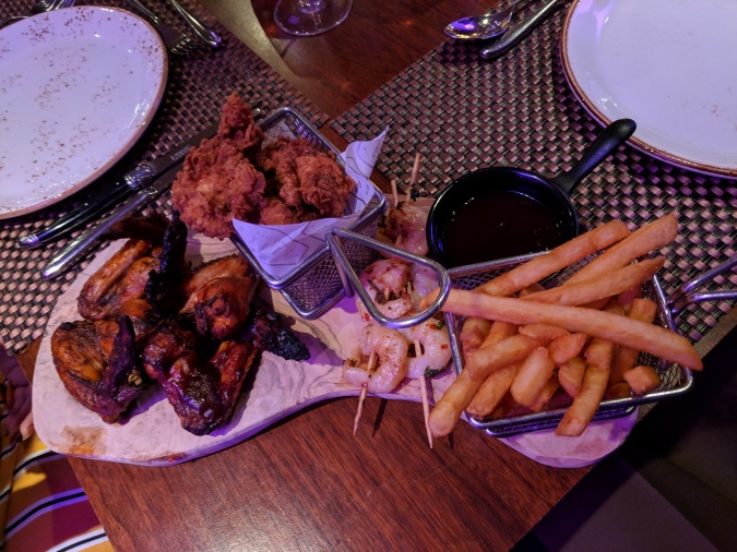 Nice To MEAT You!: The Grill In The Park, Worsley by Fashion Du Jour LDN. Grill in the Park Worsley Restaurant. The Grill in the Park Sharing Board. Chicken Wings, Chips, Sauce, Prawns