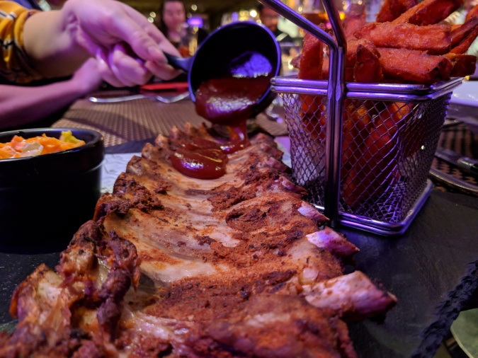 Nice To MEAT You!: The Grill In The Park, Worsley by Fashion Du Jour LDN. Grill in the Park Worsley Restaurant. Full rack of ribs with bourbon bbq sauce, sweet potato fries and slaw