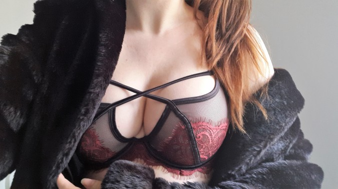 I Heart Underwear - Bluebella Valentines Lingerie by Fashion Du Jour LDN. Bluebella Adelia Bra. Red corovan eyelash lace and black mesh harness bra. Brunette hair, black fur coat
