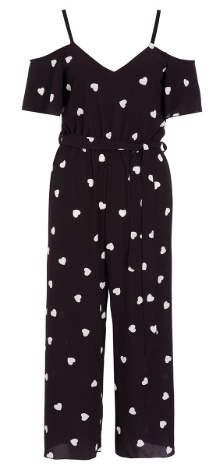 Lovers Retreat: What To Wear on Your Valentines Getaway - QUIZ Black And Cream Polka Dot Hearts Jumpsuit