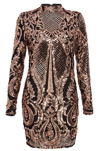 Lovers Retreat - What To Wear On Your Valentine's Getaway By Fashion Du Jour LDN. QUIZ Black and Rose Gold Sequin Bodycon Dress