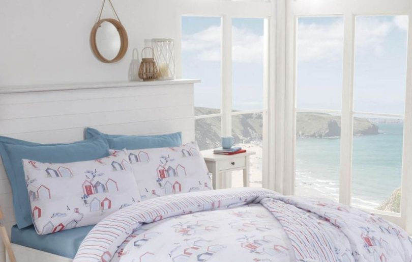 Silent Night: How To Create the #PerfectSleepingSpace by Fashion Du Jour LDN. Beach Huts Easycare Reversible Blue Duvet Set by Julian Charles Home Luxury Bedding and Curtains