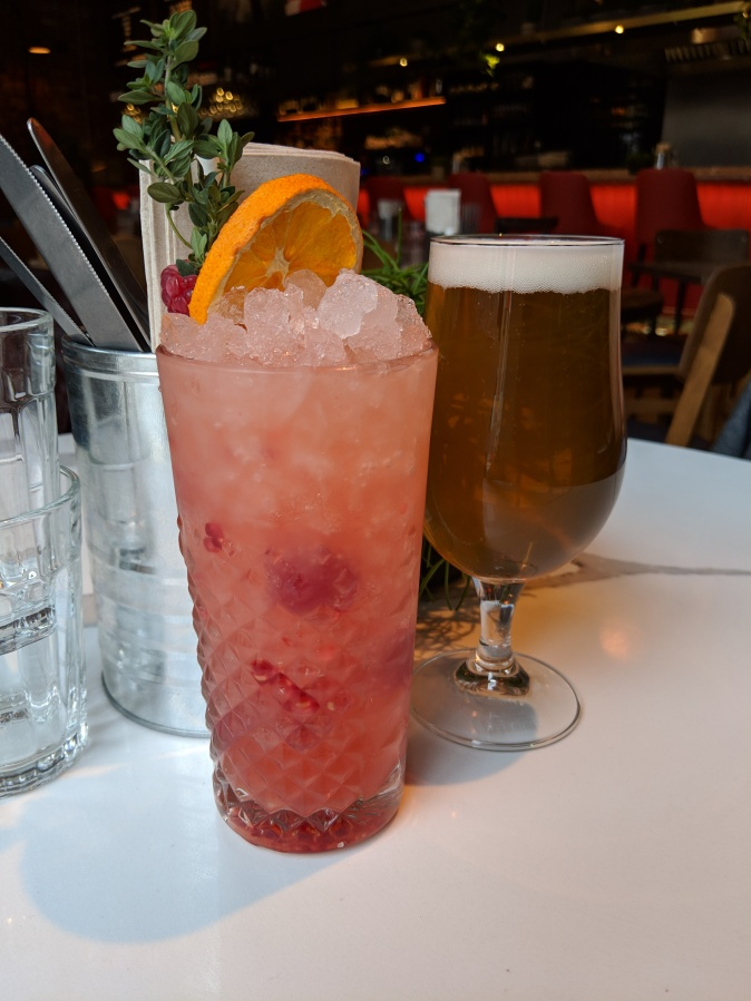 Marvellous Manchester: A Local's Guide To Hidden Gems by Fashion Du Jour LDN. The Counter House, Ancoats, Manchester. Raspberry Aperol Colllins Cocktail and beer