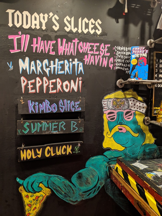 Marvellous Manchester: A Local's Guide To Hidden Gems by Fashion Du Jour LDN. Crazy Pedros Part Time Pizza Par.lour, Manchester. House rules sign, art work, mexican wrestler