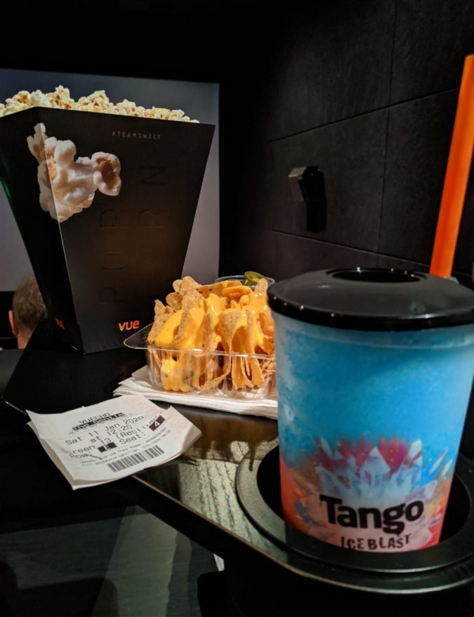 A Perfect Vue of The Gentlemen: Our Trip To Vue, Cheshire Oaks by Fashion Du Jour LDN. Vue Cinema, Film, Guy Ritchie, Snacks, Popcorn, Tango Ice Blast, Nachos, Recliner chairs