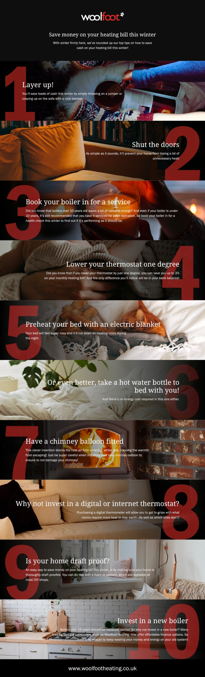 Stay Toasty: How To Save Money On Your Heating Bill by Fashion Du Jour LDN. Infographic by Woolfoot Heating