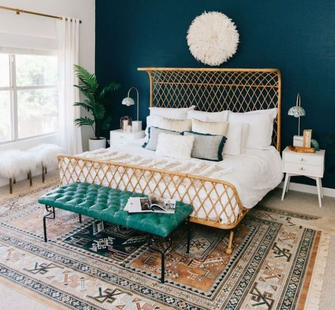 Sweet Dreams - 2020 Bedroom Interior Trend Predictions by Fashion Du Jour LDN. Close-up of a brushed brass bed frame, pillows and glass lamps in a teal and white bedroom interior