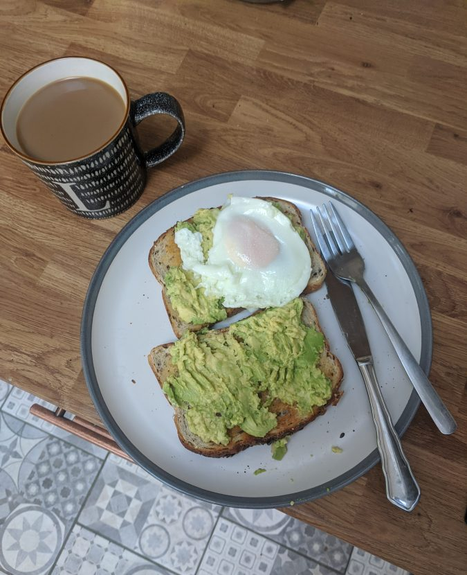 Pandemic Pampering How To Lockdown Your Winning Morning Routine by Fashion Du Jour LDN. Grey and wood kitchen, avocado on toast with a poached egg, cup of coffee